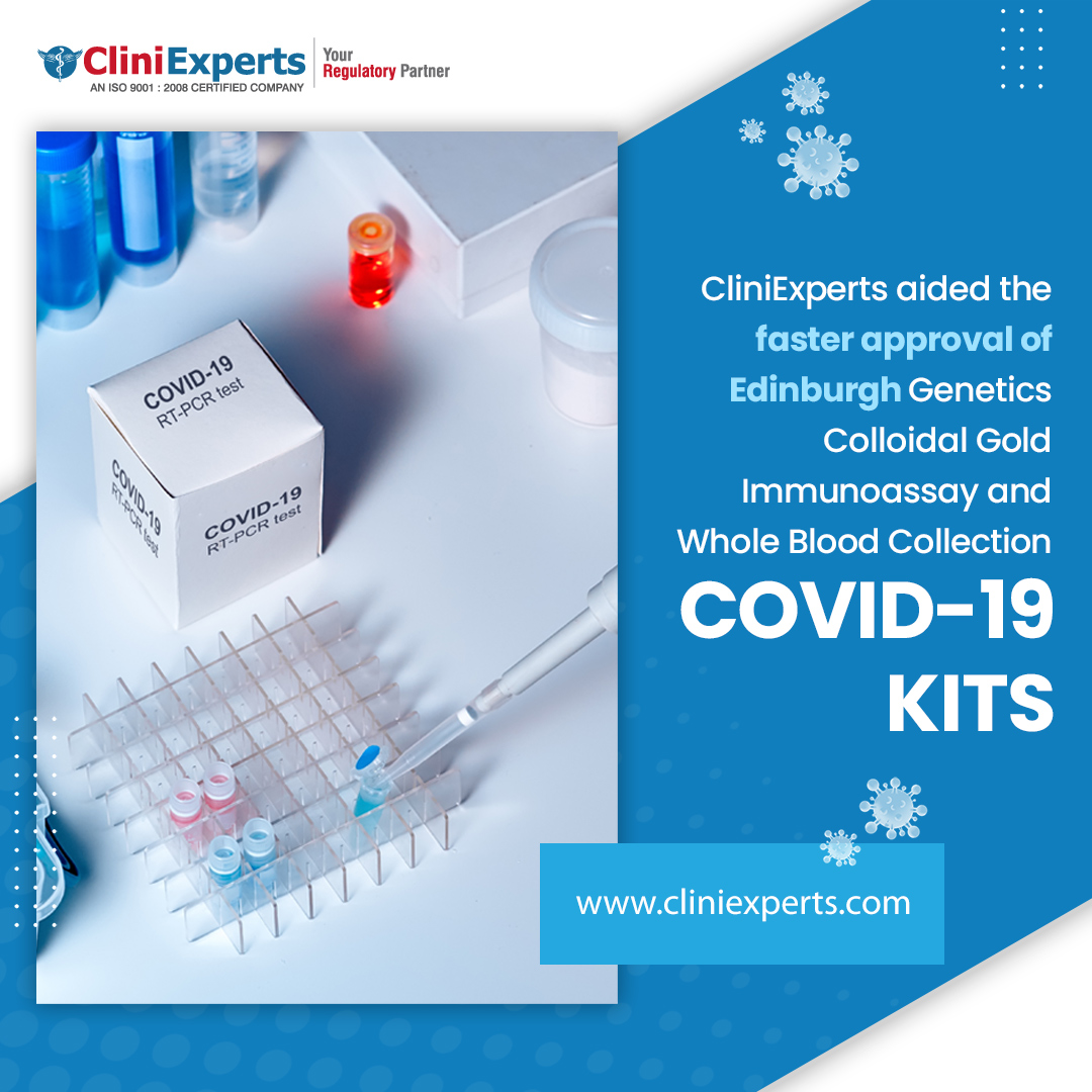 CliniExperts aided the faster approval of Edinburgh Genetics Colloidal Gold Immunoassay and Whole Blood Collection COVID-19 kits